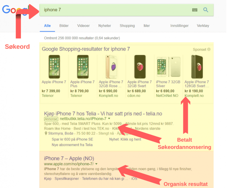 Søkemotoroptimalisering - organisk søkeresultat